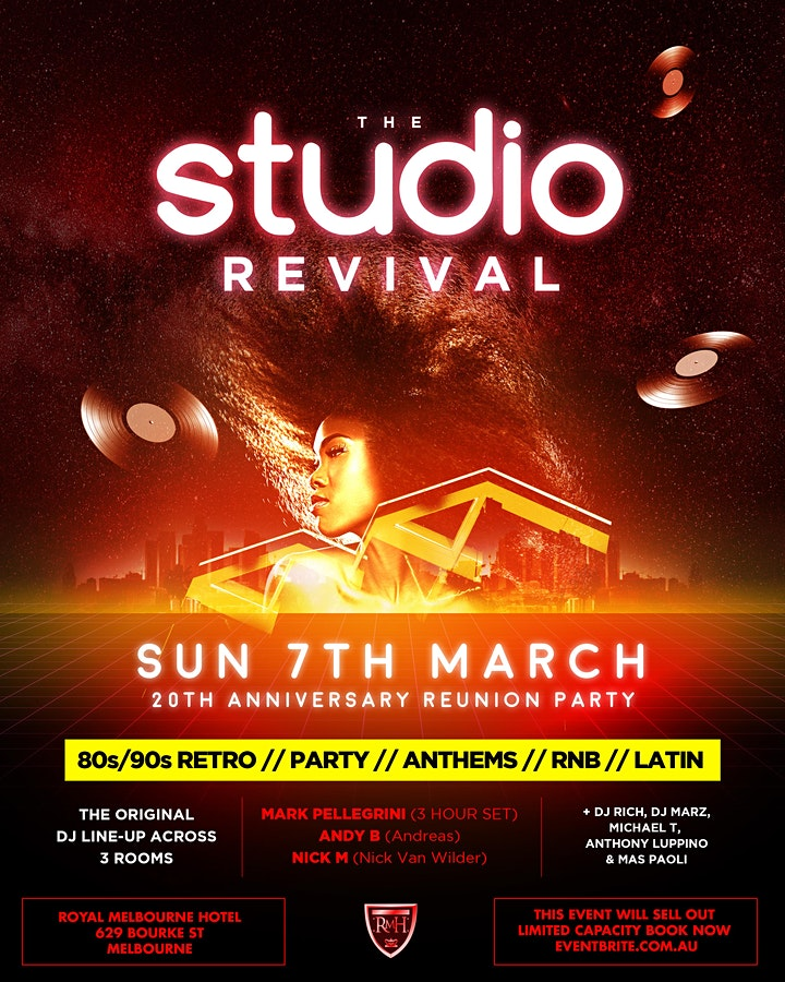 THE STUDIO REVIVAL 20TH ANNIVERSARY REUNION PARTY image