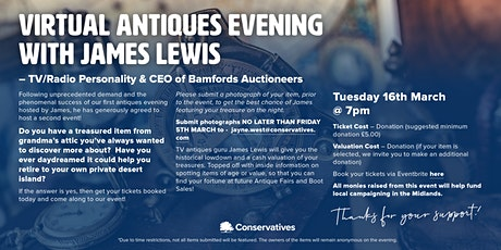Virtual Antiques Evening with James Lewis Auctioneer tickets