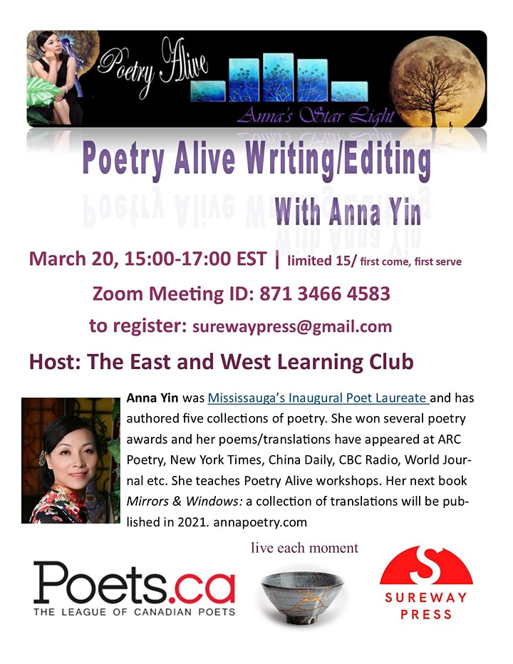Online Poetry Alive Writing/Editing Workshop with Anna Yin image