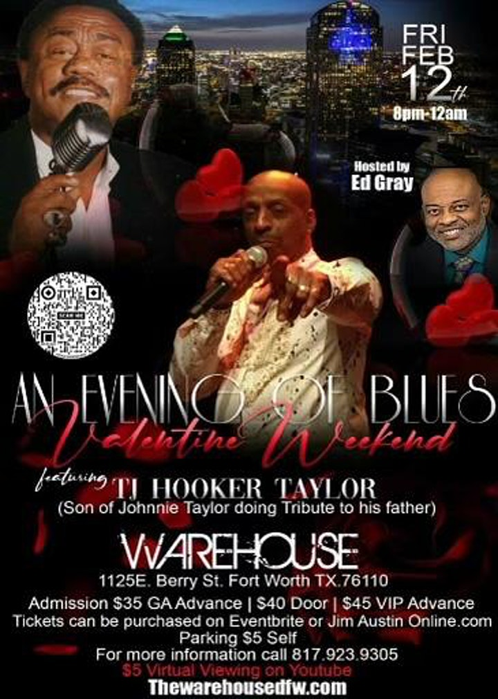 TJ Hooker Taylor Valentine Blues Concert {8PM CST} 2/12/2021 @The Warehouse image