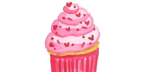 VIRTUAL SWEETEST CUPCAKE WATERCOLOR CLASS - SUNDAY, FEBRUARY 28TH @ 1PM EST tickets