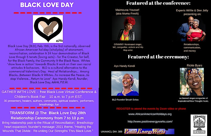 Black Love Day 28th Relationship Ceremony & Virtual Black Love Conference image