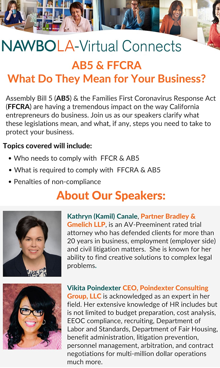 NAWBO-LA Virtual Connects - AB5 & FFCRA: What They Mean for Your Business? image