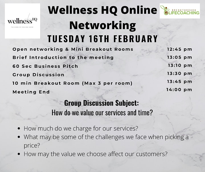 Wellness HQ Online Networking 16th  of February 2021 image