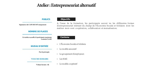 Atelier Entrepreneuriat alternatif / ESS billets