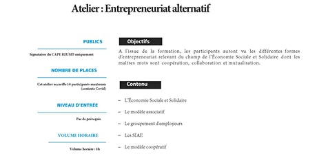 Atelier Entrepreneuriat alternatif // ESS billets