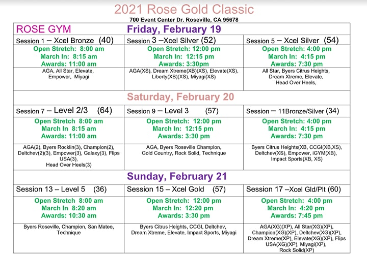 Rose Gold Classic - 2021 Please note: Only 2 attendees per Gymnast allowed image