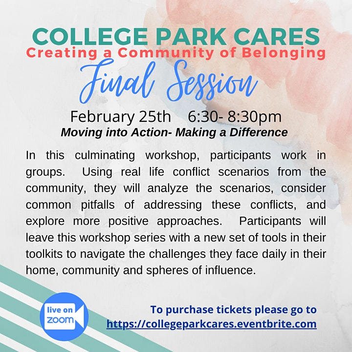 "February 25th - College Park Cares ""Moving into Action-Making a Difference"" image"