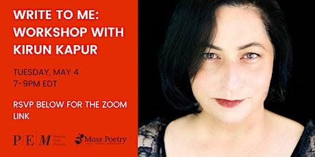 Write to Me: Workshop with Kirun Kapur tickets