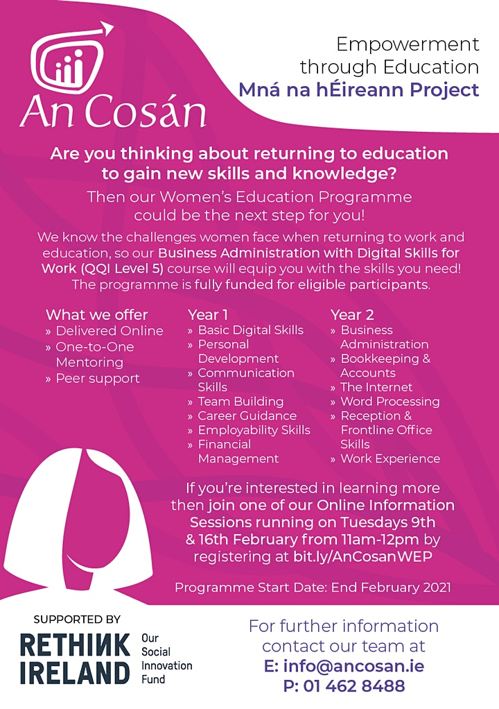 An Cosán Online Information Sessions for Women's Education Programme image
