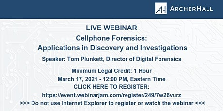 Cellphone Forensics: Applications on Discovery & Investigation biglietti