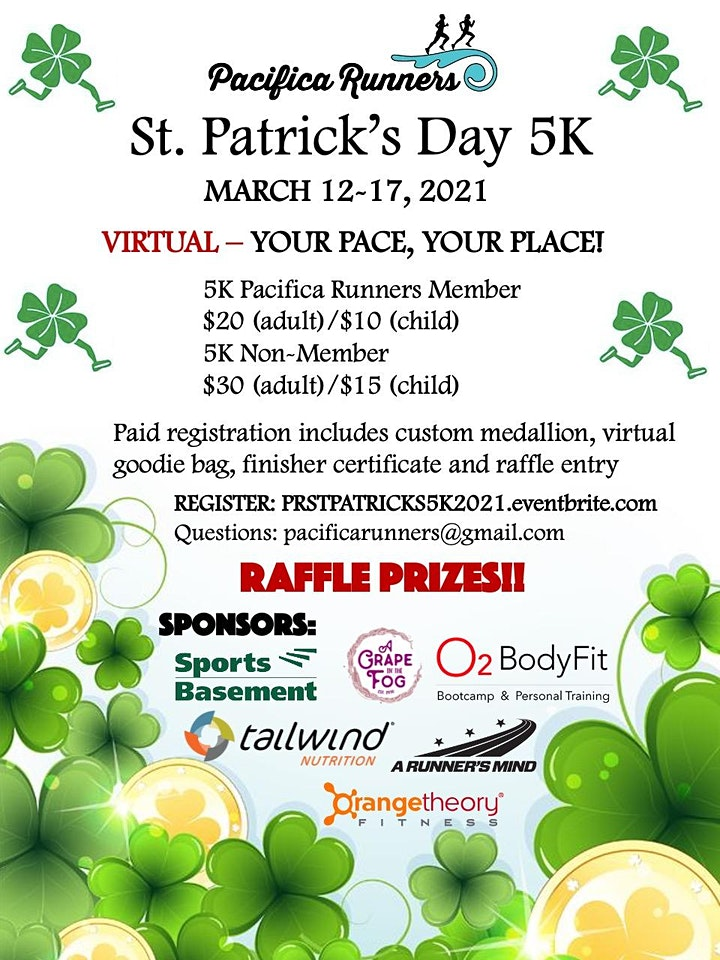 Pacifica Runners St. Patrick's Day Virtual 5K 2021 image