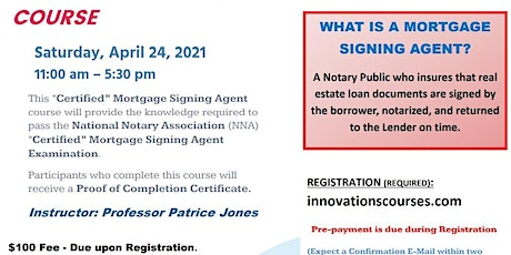"""""""LIVE"""" ONLINE - CERTIFIED MORTGAGE SIGNING AGENT COURSE - APRIL 24. 2021 tickets"""