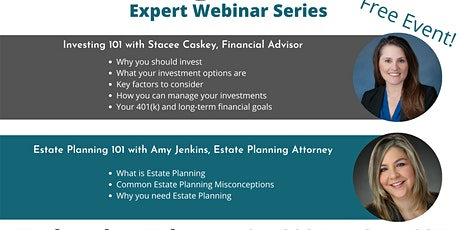 Expert Webinar Series - Investing 101 and Estate Planning 101 tickets