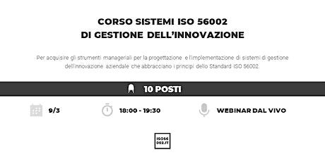 Corso ISO 56002 sulla gestione dell'innovazione biglietti