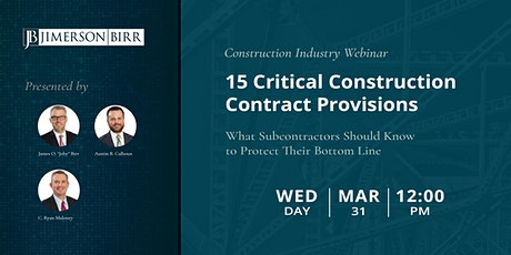 15 Critical Construction Contract Provisions for Subcontractors tickets
