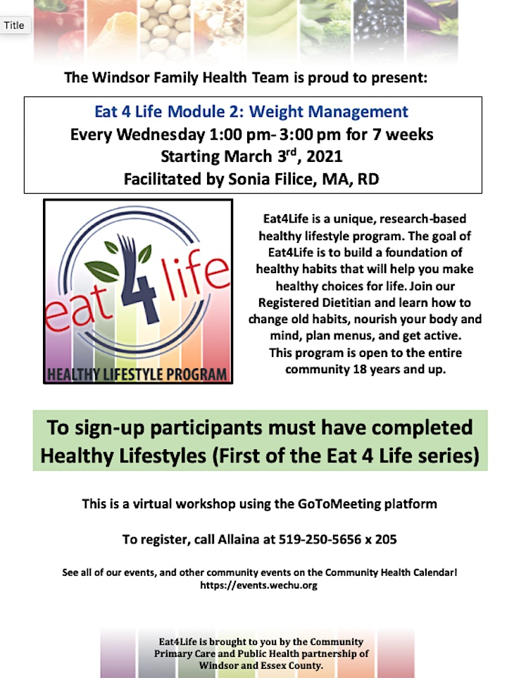 Eat 4 Life Module 2: Weight Management image