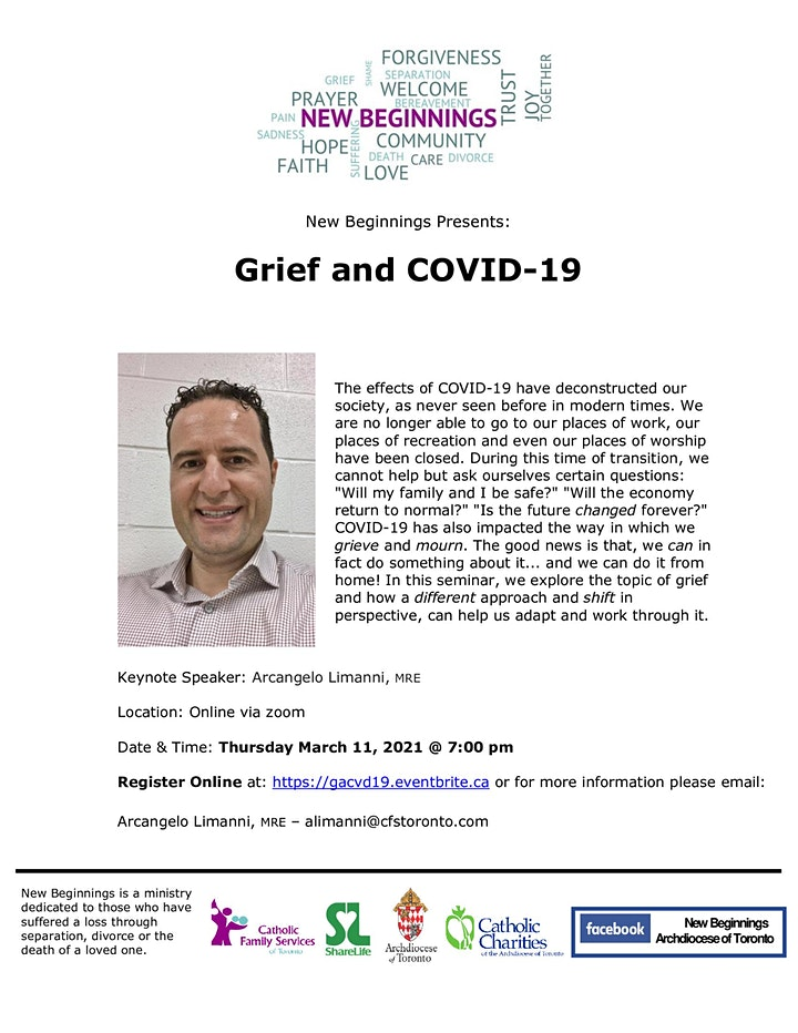 New Beginnings Online Seminar: Grief and COVID-19 image