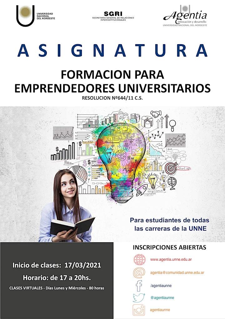 Imagen de ASIGNATURA FORMACIÓN PARA EMPRENDEDORES UNIVERSITARIOS - 1ºSemestre2021