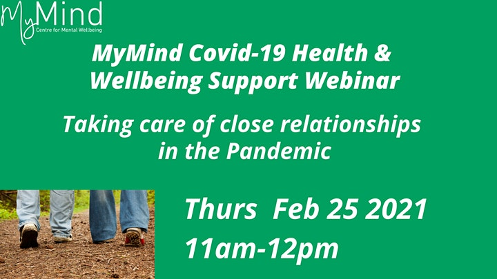 MyMind Covid-19 Health and Wellbeing Support webinar: Close Relationships image