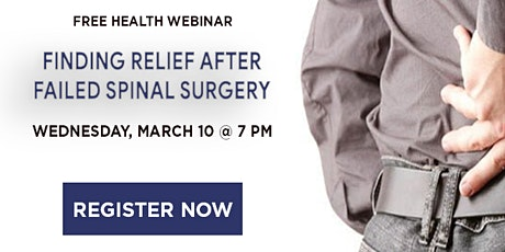 WEBINAR: Finding Relief After Failed Spinal Surgery tickets