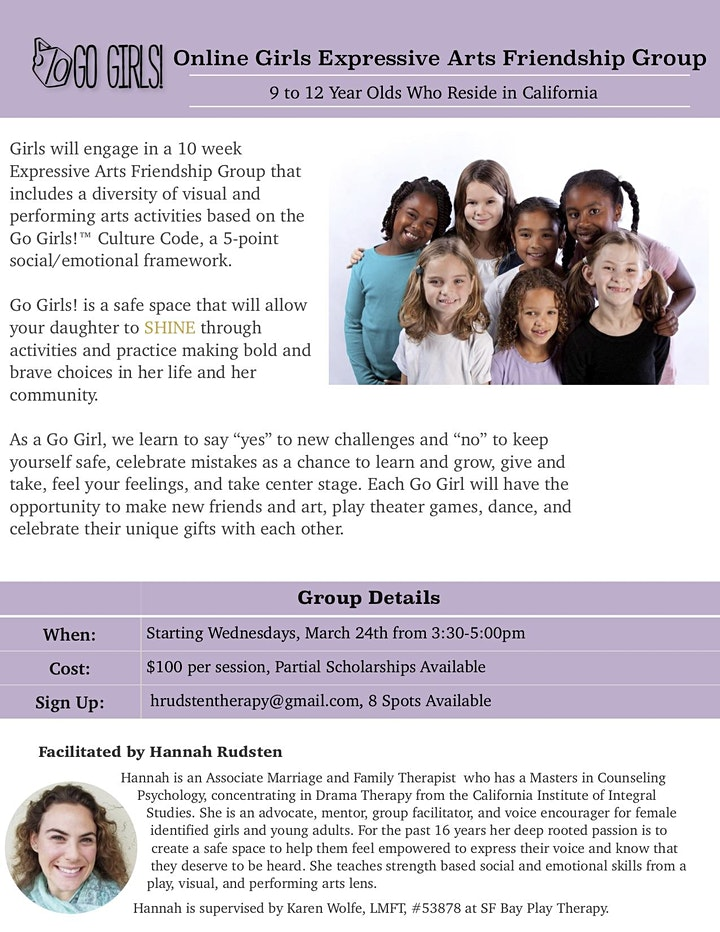 Online Pre-Teen Girls Expressive Arts Connection Hour image