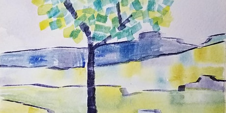 Beginner Watercolor Class landscape and patterns tickets