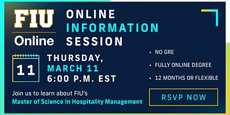 FIU Online Master of Science in Hospitality Management - Info Session tickets