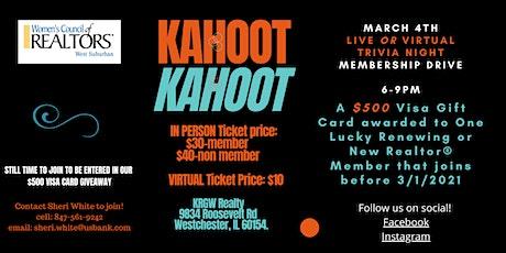KAHOOT TRIVIA NIGHT/Membership drawing $500 Visa G tickets