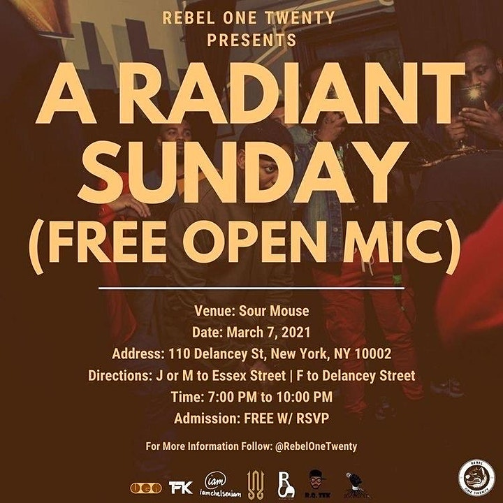 Rebel One Twenty Presents: A Radiant Sunday (FREE OPEN MIC) image