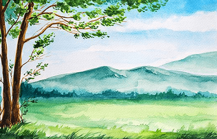 Online Landscape Painting, All ages are welcome Kids or Adults image