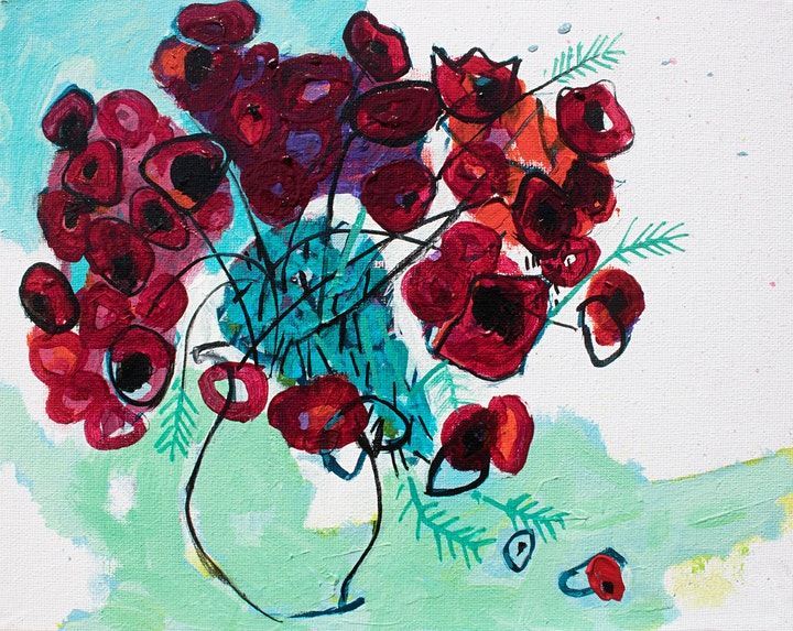Online Adults Paint Night -Abstract Red Poppies image