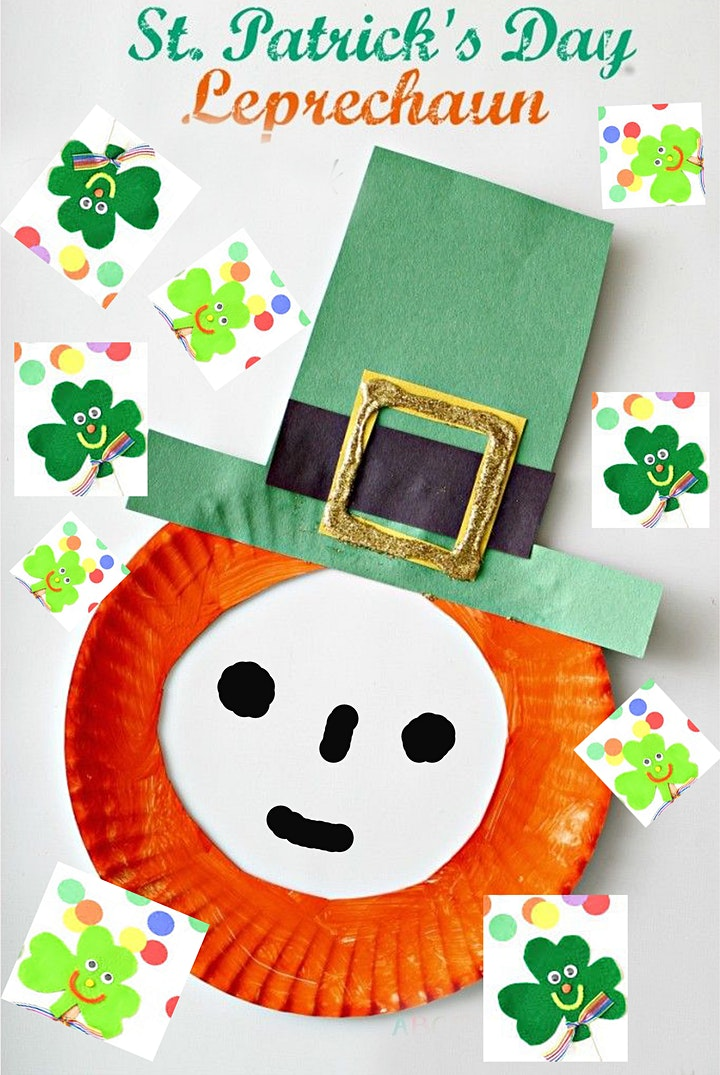 Online Art Class, St. Patrick's, Making Leprechaun, All ages are welcome image