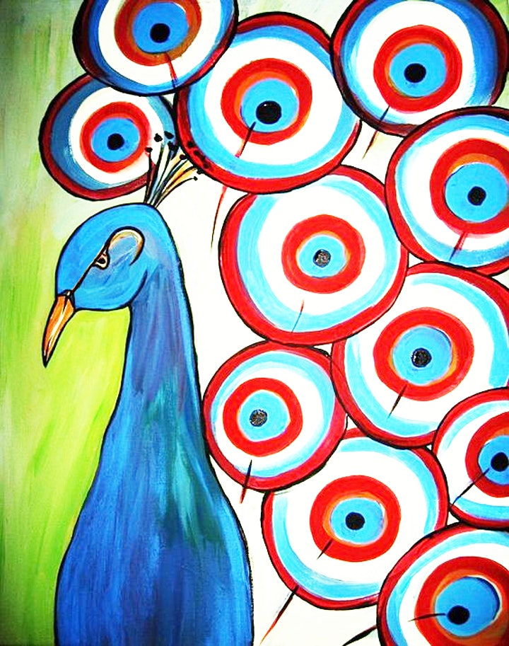 Online Peacock Painting, All ages are welcome Kids or Adults image