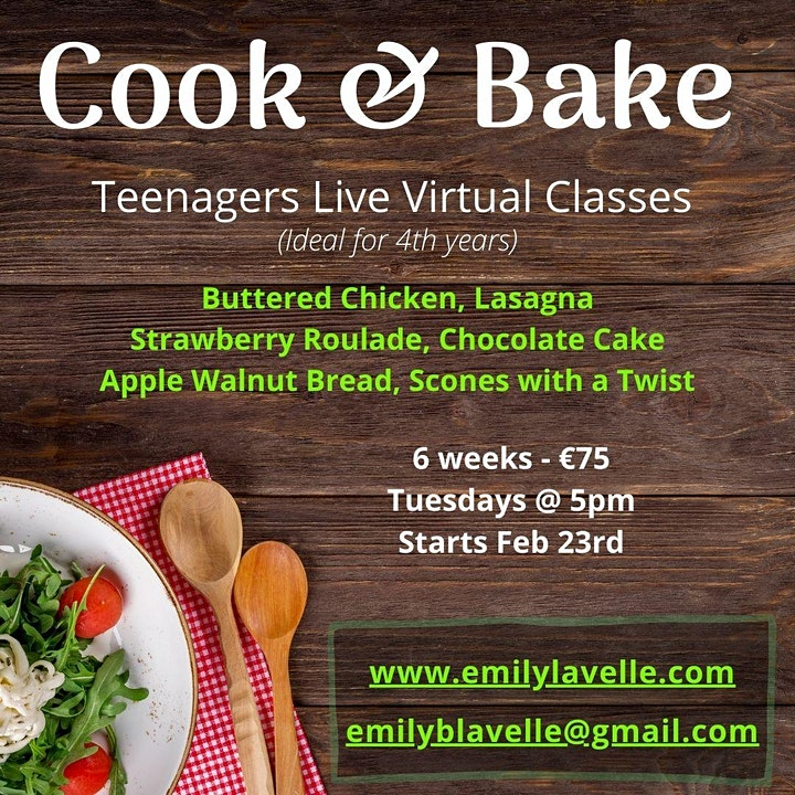 Teenage Cook & Bake Classes - 2 Family Meals, 2 Sweet Bakes, 2 Breads image