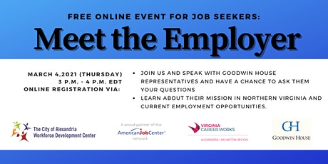 """""""Meet the Employer""""  Online Event with Goodwin House tickets"""