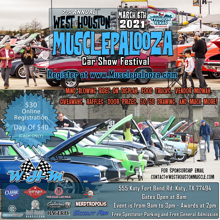 """7th Annual """"Musclepalooza"""" Car Show presented by Typhoon Texas image"""