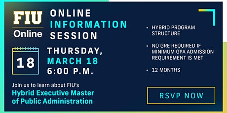 FIU Hybrid Executive Master of Public Administration - Info Session tickets