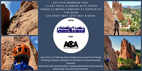 ACA PAID MEMBERS FREE 1/2 Day Rock Climbing at Garden of The Gods with FRCC tickets
