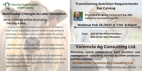 Nutritional Changes In Later Gestation- with Presenter: Barry Yaremcio tickets