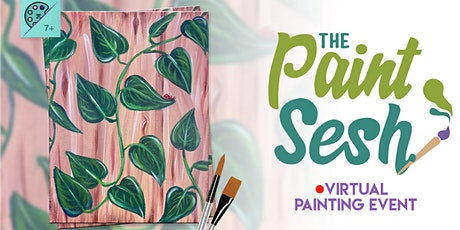 "Online Painting Class – ""Pothos Vines"" (Virtual Paint Night at Home) tickets"