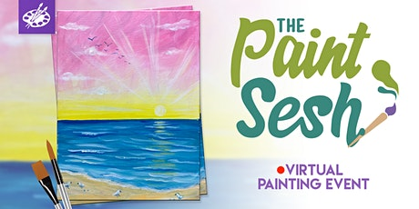 "Online Painting Class – ""Sunshine Shore"" (Virtual Paint Night at Home) tickets"