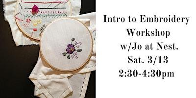 Intro to Embroidery with Jo Cohen of Sawmill Camerretti