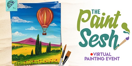 "Online Painting Class – ""Air Balloon Valley"" (Virtual Paint Night at Home) tickets"