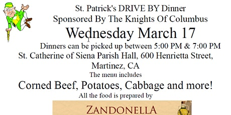 Knights of Columbus #6039  St. Patrick's Drive-by Dinner tickets