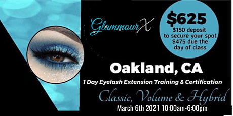 Oakland, CA Beginners Lash Training Classic Volume & Hybrid tickets
