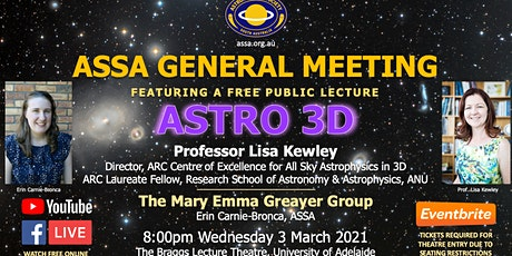 Public Lecture   ASTRO 3D by Prof. Lisa Kewley tickets