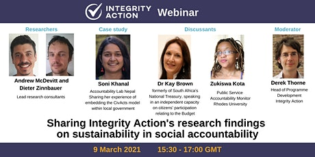 Integrity Action research findings: sustainability in social accountability tickets