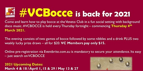 #VCBOCCE - 4th March 2021 tickets