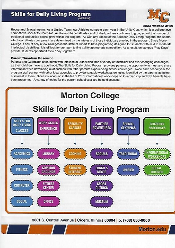 """AHP Presents Morton College  """"Skills for Daily Living Program"""" image"""